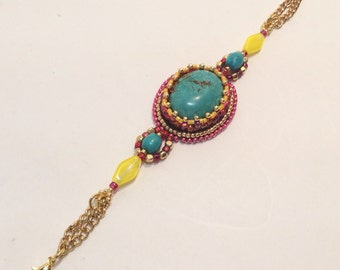 Hot Pink, Turquoise, Yellow and Gold Bracelet