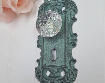 Vintage Inspired Cast Iron Door Plate With Glass Knob Keyhole ~ Victorian Door  Knob ~ Ornate