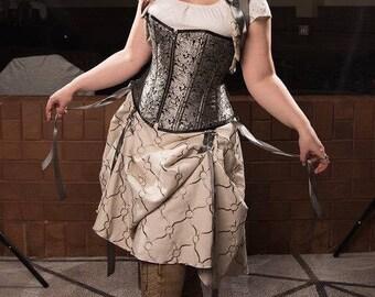 """SHORT Cream and grey linen hitcher skirt and bolero  24""""-52"""" waist  37"""" long steampunk, cosplay, lolita"""