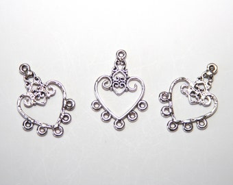 5 Piece Metal Pendant / Chandelier / Jewelry Distributor / antique silver tone / 31x21nn  A026