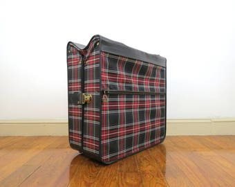 Vintage Folding Garment Bag // Mid Century Modern Plaid Feather Lite Wardrobe Storage Luggage Hanging Suit or Dress Bag Fabric Carrying Case