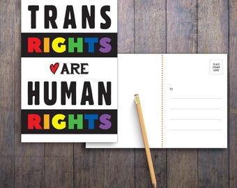 Trans Rights Are Human Rights PRINTABLE Protest Postcard