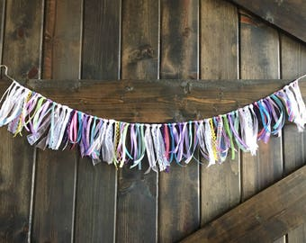 Pastel Garland, Spring Garland, Bridal Shower Ribbon Garland, Shabby Chic Garland, Baby Shower Twine Wall Hang