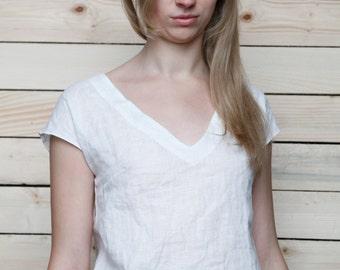 Linen White Top/Linen Blouse/ Linen Top V-neck/Linen Cami/Blouse Kimono Sleeveless
