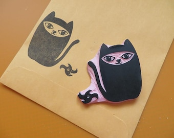 Ninja Cat And Star Rubber Stamp Set, Teacher Stamp,Birthday Party Cat Stamp, Hand Carved Rubber Stamp, Custom Carved Rubber Stamps