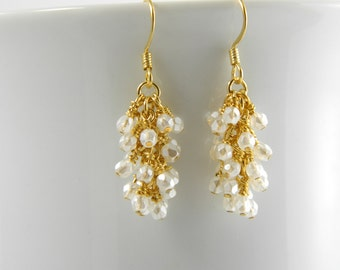 Gold Dangle Earrings with Pearl White Glass, White Cascade Earrings in Gold with Surgical Steel Ear Wires