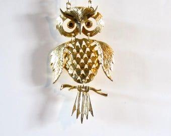 Retro articulated owl necklace