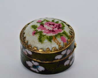 Vintage Pill Box, Perfume Pill Box, Vintage Cloisonne Pill Box with Petit-point top, Beeswax Perfume, Solid Perfume, Cloisonné Pill Box,