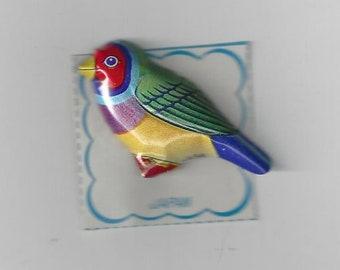 Vintage Japan Lithograph Bird Tin Pin, 1960s
