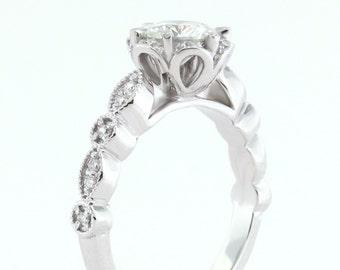 Vintage Moissanite Engagement Ring Unique Setting