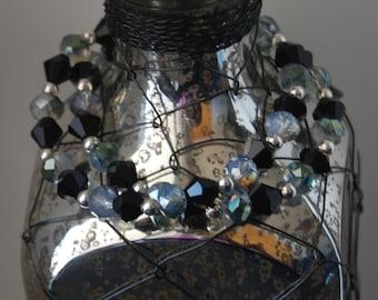 Double Strand Beaded Bracelet- Blue and Black