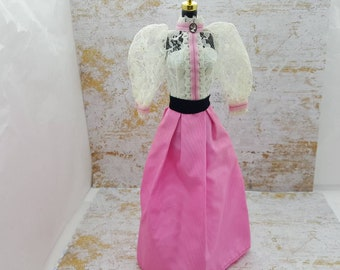 Barbie Victorian Cameo Gown in Lace and Pink fashions Outfit 11 inch doll