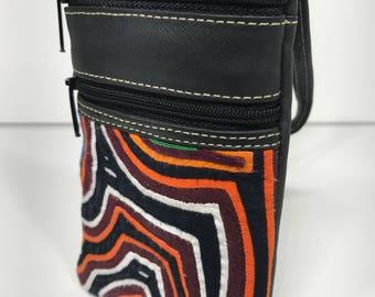 Handmade Mola and Leather Bag