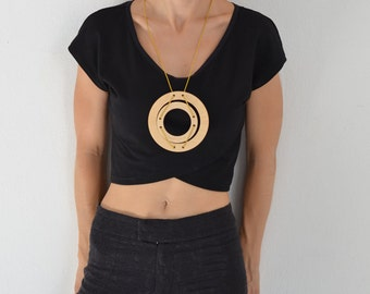 wooden necklace, gift for her, minimal jewelry, plywood, earthy, two circles, modern jewellery, fashion design, women's gift