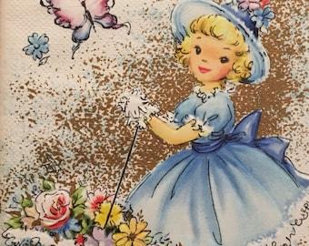 Vintage Birthday Card Vintage Girl Parasol Mid Century Butterflies New Old Stock Unused