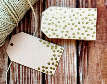 Confetti paper tags, set of 25 blank handmade glitter polka dot labels, blush and gold engagement bridal shower wedding decor, DIY wedding