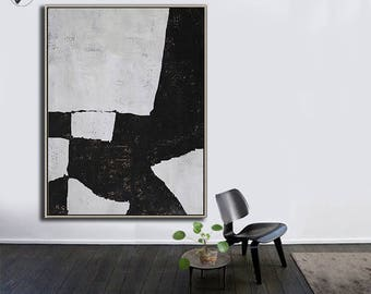 Black White Canvas Art, Large Abstract Art, Vertical Wall Art Contemporary Painting - Ethan Hill Art No.H116V
