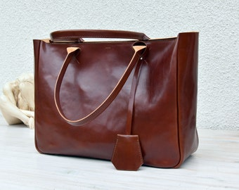 Brown Leather Tote BELLA VOLUME Cognac Brown Leather Tote Leather Laptop Bag Leather Briefcase Tote Bag With Pockets Tote Bag Shoulder Bag