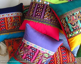 Vibrant Colorful Batik Mix Throw Pillows Cushion Covers Ethnic- Handmade in Traditional Batik and a Beautiful Mix of Happy Colors