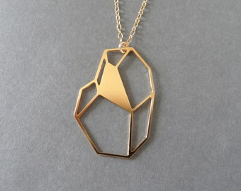 faceted necklace, faceted rock necklace, geometric gem, geometric jewelry, geometric necklace