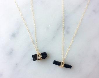 Black Tourmaline Necklace, Raw Black Tourmaline Necklace, Black Tourmaline Pendant, Black Tourmaline Jewelry, Black Tourmaline Necklace Gold