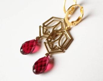 Art Deco Earrings - Scarlet Swarovski Crystal - Gold Plated Leverback Earwires
