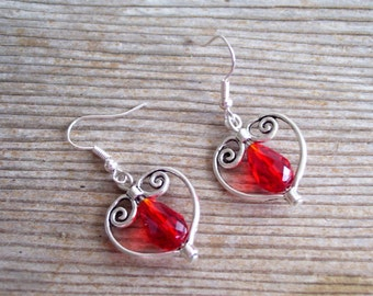 Red Silver Heart Earrings, Filigree Silver Heart Earrings, Bridal Earrings, Sweetheart Jewelry, Silver Red  Earrings