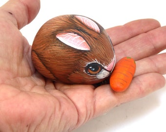 Little Rabbit with his carrot-Hand Painted Stone-Cute children's Pet-Home Decor-Rock Art