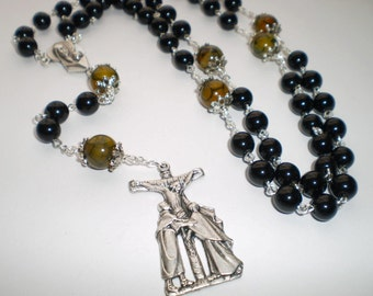 Black Glass Dragon Vein Agate Madonna and Child Rosary Prayer Beads, Catholic Gift, Confirmation Gift, Wedding, Unique Rosary