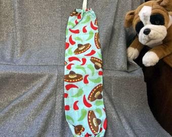 Plastic Bag Holder Sock, Fiesta Time on Turquoise Print