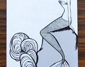 Pinup girl - 'Koi Maid'  Illustration by Brenda Dunn