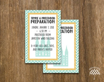 LDS Temple & Priesthood Preparation Invitation -- Herringbone
