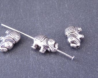 15 pearls Metal Intercalaires Elephant 8.5 x 12 mm ethnic Style - Silver (PM013)