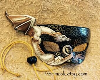 READY TO SHIP Ivory Bronze Dragon Mask... original leather masquerade costume Venetian mardi gras halloween burning man festival