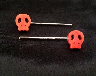 Set Of 2 Orange Stone Skull Bobby Pins