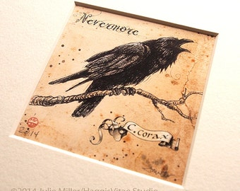 "SALE!!!....""Nevermore"" - Raven limited edition matted fine art print 3x3 inches, matted to 8x8 archival museum board"