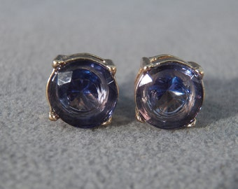 Vintage Yellow Gold Tone Large Blue Rhinestone Prong Set Classic Stud Style Pierced Earrings