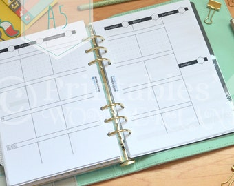 A5 week on 2 pages vertical planner inserts instant download - Weekly view vertical layout printable