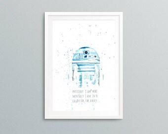 R2-D2 quote watercolor art