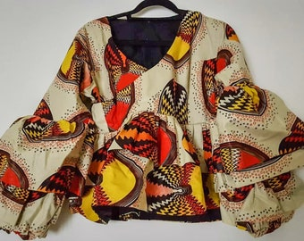 African print flared sleeve top