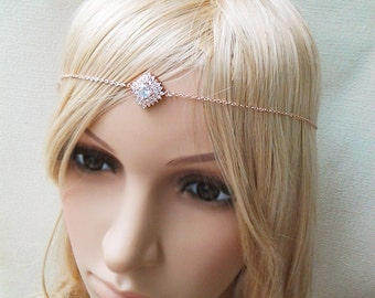 Rose Gold Head Chain Headpiece pink gold Hair Jewelry hair