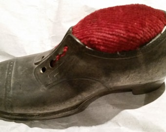 Vintage Pincushion Shaped like a Shoe.  Silver Colored Metal Oxford Shoe and Red Velvet