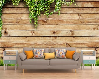 Wooden Wall Covering, Wall Decor, Peel And Stick Wall Art, Vinyl Wallpaper, Vintage Wall Decal, Rustic Wallpaper, Vintage Wallpaper