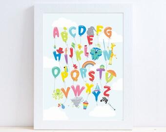 Alphabet Balloons // Alphabet Print // Alphabet Wall Art // Alphabet Wall Decor // Nursery Art // Nursery Print // Nursery Decor