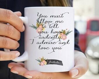 Jane Austen Literary Mug - Floral Print Bookish Mug