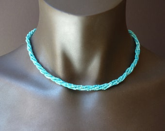 Genuine Turquoise Heishi Necklace/4 strands/Delicate