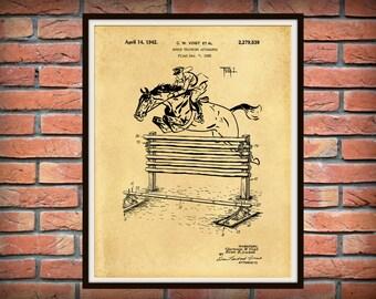 Patent 1939 Horse Training Apparatus - Art Print - Poster - Equestrian Wall Art - Equus -  Horse Show Jumping -
