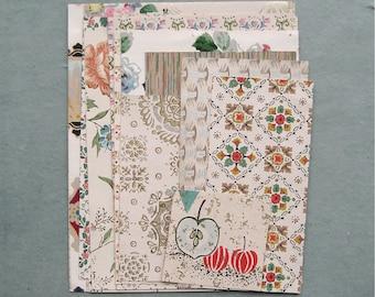 Multicolor Vintage Wallpaper Scrap Pack 16 Pieces for Collage Scrapbooking Papercrafts