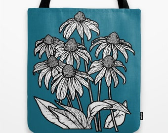 Blue Flowers Tote Bag - Double Sided Tote - Beach Bag, Yoga Bag, Reusable Grocery Tote