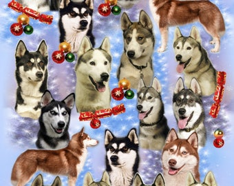Siberian Husky Dog Christmas Gift Wrapping Paper.